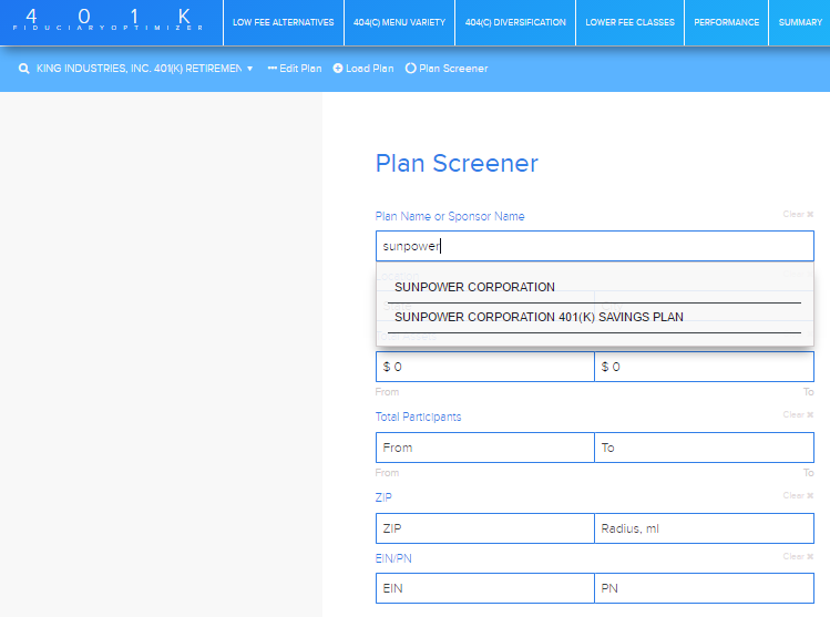 PLAN SCREENER Reference Guide