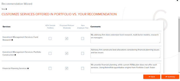Figure 5: Customize services with comments to show due diligence.