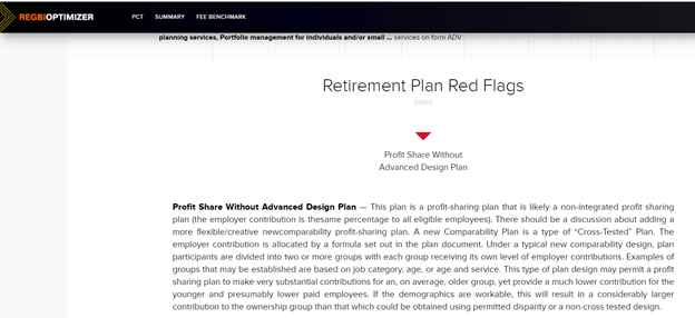 Figure 9: Retirement Plan Red Flags are highlighted in the report