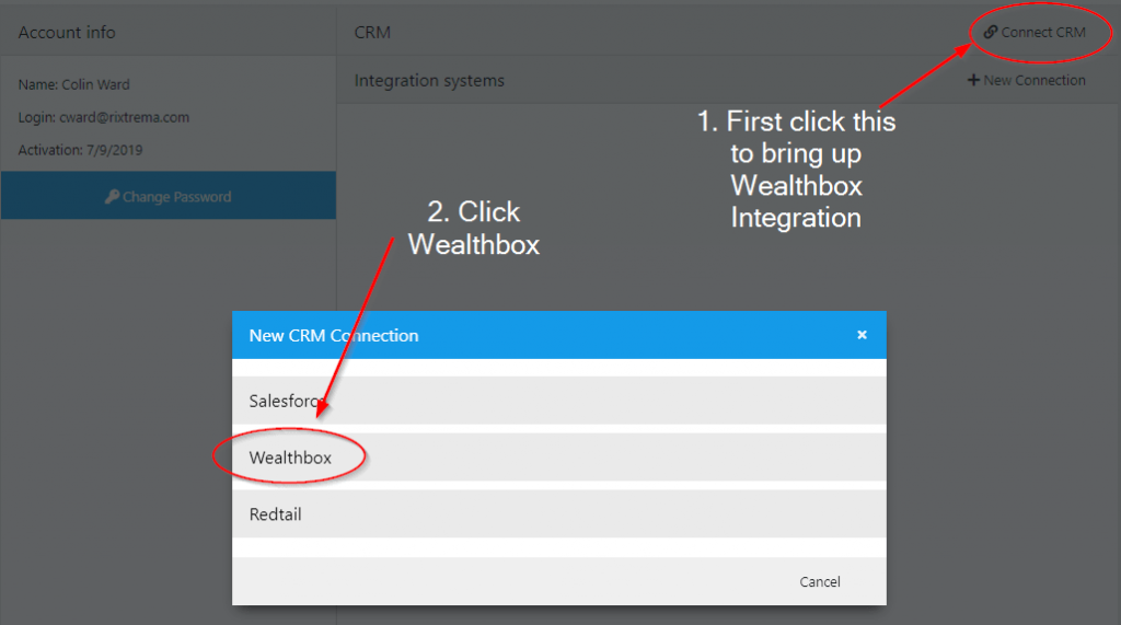 Figure 2: PCT can integrate with Salesforce, Wealthbox, and RedTail