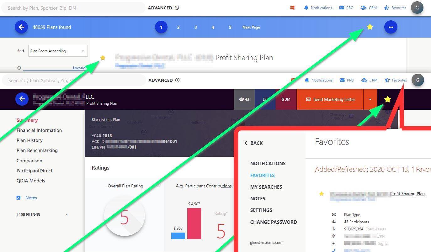 Figure 10. Use the star icon anywhere on the screen to save your search in your Favorites section for quick access. Simply click on the Favorites icon in the top-right to quickly run your favorite searches and plan reports.